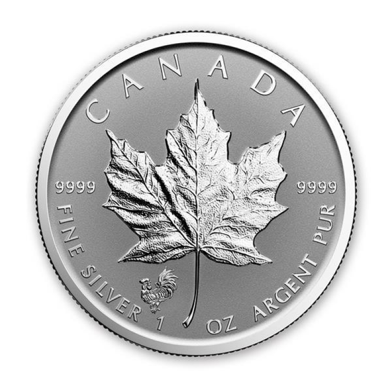 1 Unze Silber Privy Mark Rooster Hahn Maple Leaf 2017