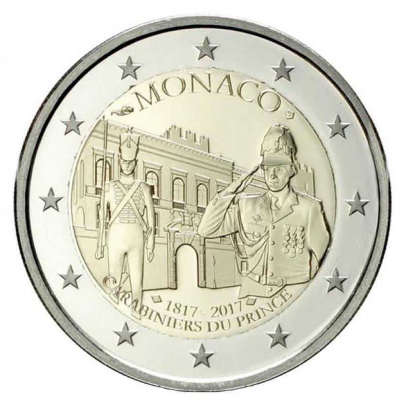 2 euro monaco 2017 compagnie des carabiniers du prince. Black Bedroom Furniture Sets. Home Design Ideas