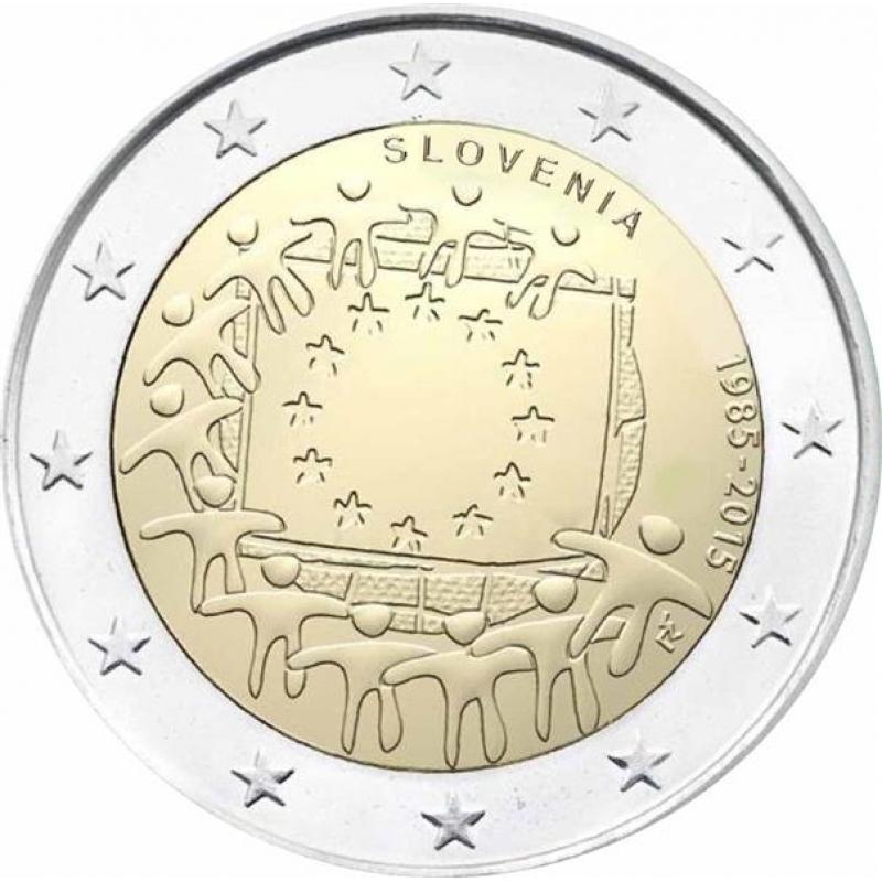 2 euro slovenia 2015 30 years european flag 3 49. Black Bedroom Furniture Sets. Home Design Ideas