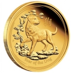 1/4 oz Gold  Proof Australian Lunar Year of the Dog Coin (SII) 2018 Proof