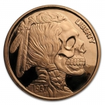 1 Unze Copper Round United Snake Serie Indian Skull...