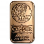 1 oz Copper Bar - Walking Liberty .999