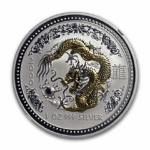 2000 Australia 1 oz Silver Year of the Dragon gilded (SI) BU