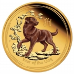 1 oz Gold  Proof Australian Lunar Year of the Dog Colour Coin (SII) 2018 Proof