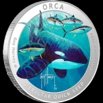 1 oz silver coin - 2016 Orca  - Guy Harvey designed...