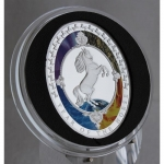 1 Oz Silver  Proof PP Oval shaped Year of the Horse - Tokelau 2014