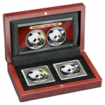 2 x 30 g Silber Panda Set Night & Day 2018 China...