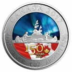 2017 1 Unze Silber Canada 150 Voyageur in Farbe 5 CAD...
