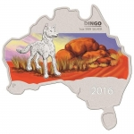 Australien Dingo Landkarte Map Shaped 1 Unze Silber 2016