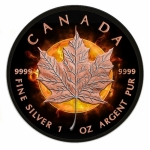 Canada 2016 5$ Black Maple Leaf Eclipse of the Sun 2016 Black Ruthenium 1 Oz Silver Coin