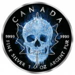 Canada 2017 5$ Burning Maple Leaf Ice Skull 2017 Black...