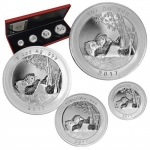 China MUNICH SHOW-PANDA - SET 4 COINS - 1 - 1/2 - 1/4 -...