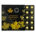 25 x 1 g Gold Maple Leaf Maplegram Kanada 2016 BU