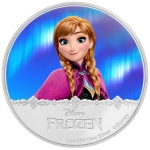 Niue Islands 2 Dollar Disney Frozen Anna coloriert, 2016, 1 Unze Silber coloriert 1 oz,