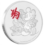 Niue Islands 2 Dollar Disney Jahr des Hundes coloriert,...