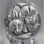 Niue Islands 1 Dollar, 1 Oz Silber Schneeleoparden Wildlife Family 2015