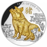 Niue Islands 8 Dollar Jahr des Hundes Dog gilded 2018, 5...