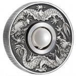 2017 $1 Tuvala Dragon & Pearl Rotating Charm 1oz...