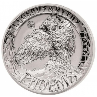 2 Oz Silver Ultra High Relief  Myths & Legends Phoenix 5 Dollar 999,99