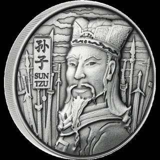 2 oz Silver The Art Of War Sun Tzu Ultra High Relief Antique Finish