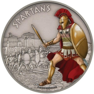 Niue Islands 2 Dollar Warriors of History Spartaner coloriert, 2016, 1 Unze Silber coloriert 1 oz,