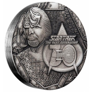Tuvalu 2 Unzen Silber 2017 Star Trek - Worf - The Next Generation 2 Dollar AF