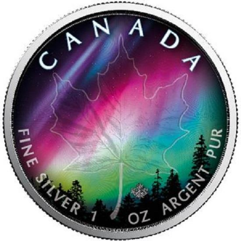 1 Oz Silver Canadian Maple Leaf 2018 Colorized Northern