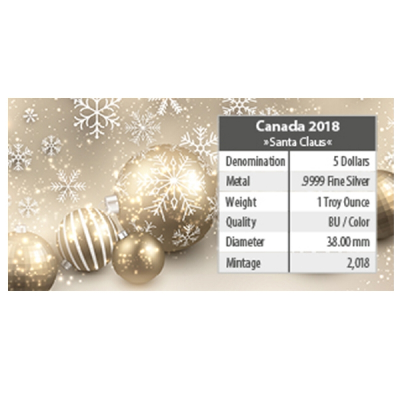 1 Oz Silber Maple Leaf Farbe 2018 Weihnachten (02) Santa Claus Specia
