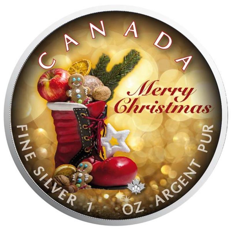 1 Oz Silber Maple Leaf Farbe 2018 Weihnachten (03) Merry Christmas Sp