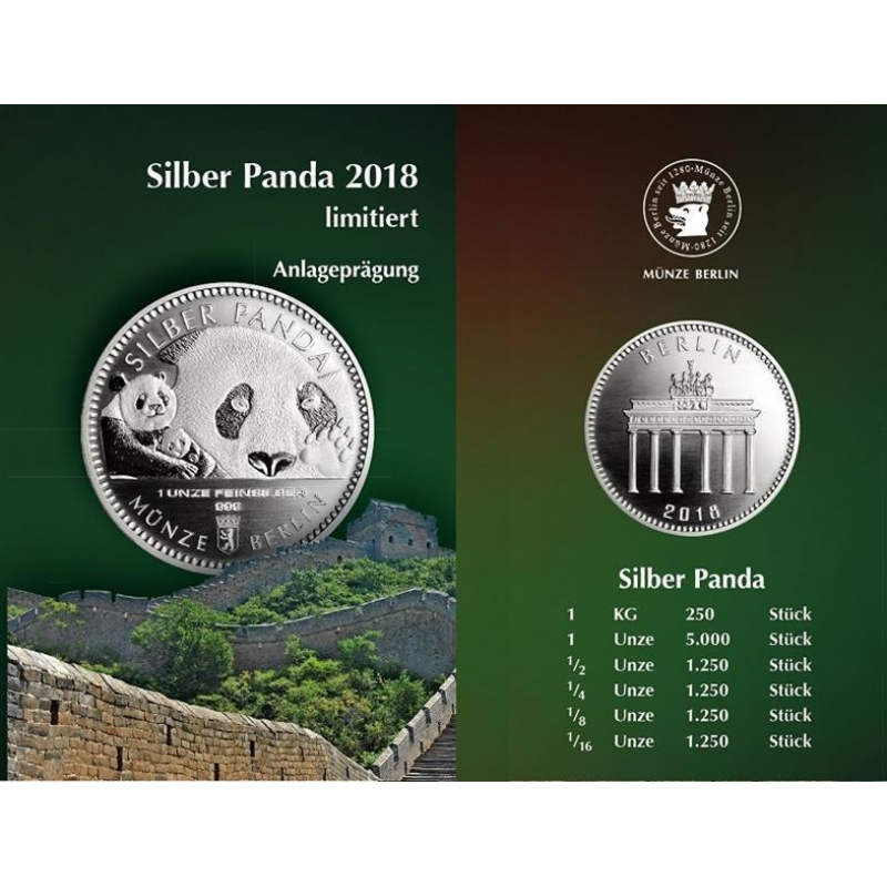 1 Oz Silver Panda 2018 Berlin Mint In Coincard 32 90