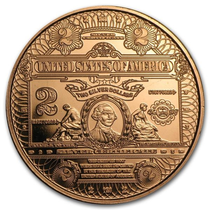 1 Unze Copper Round $2.00 George Washington Silver Certificate 999,99