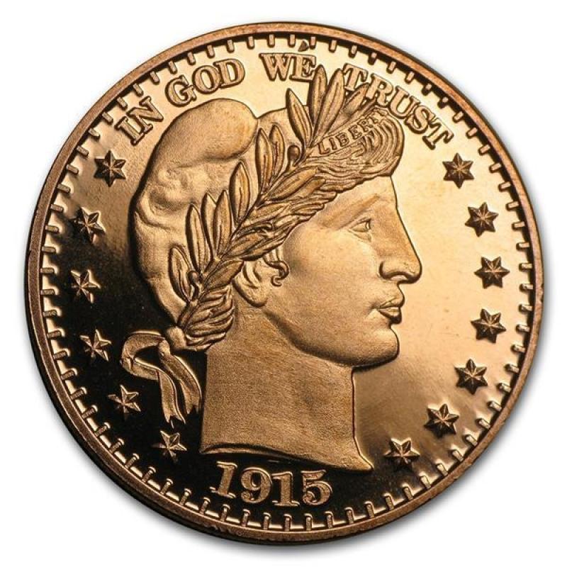 1 Oz Copper Round Gt Barber Half Dollar 999 Avdp 2 98 Au