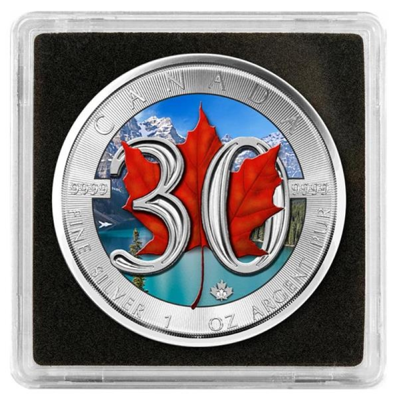 2018 Canada 1 Oz Silver Maple Leaf 30th Anniversary Bu