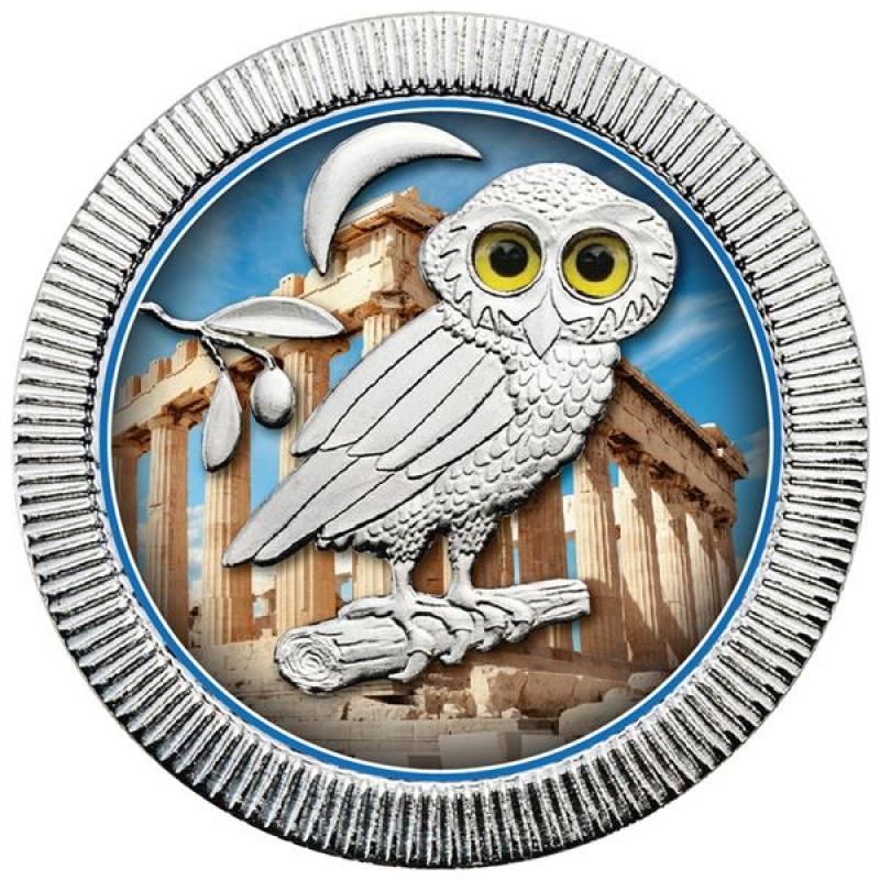 1 Unze Silber Niue 2 Nzd Eule Von Athen Parthenon In Farbe 2018 289