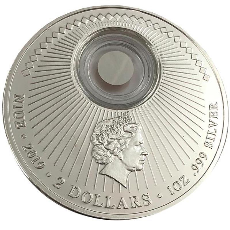 1 Unze Silber Niue 50 Jahre Mondlandung Mit Stück Der Freiheitss