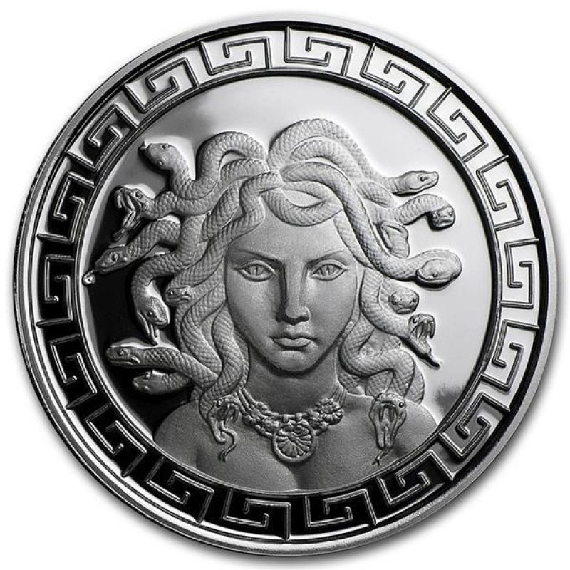 1 Oz Silver Round Classic Greek Medusa Prooflike 48