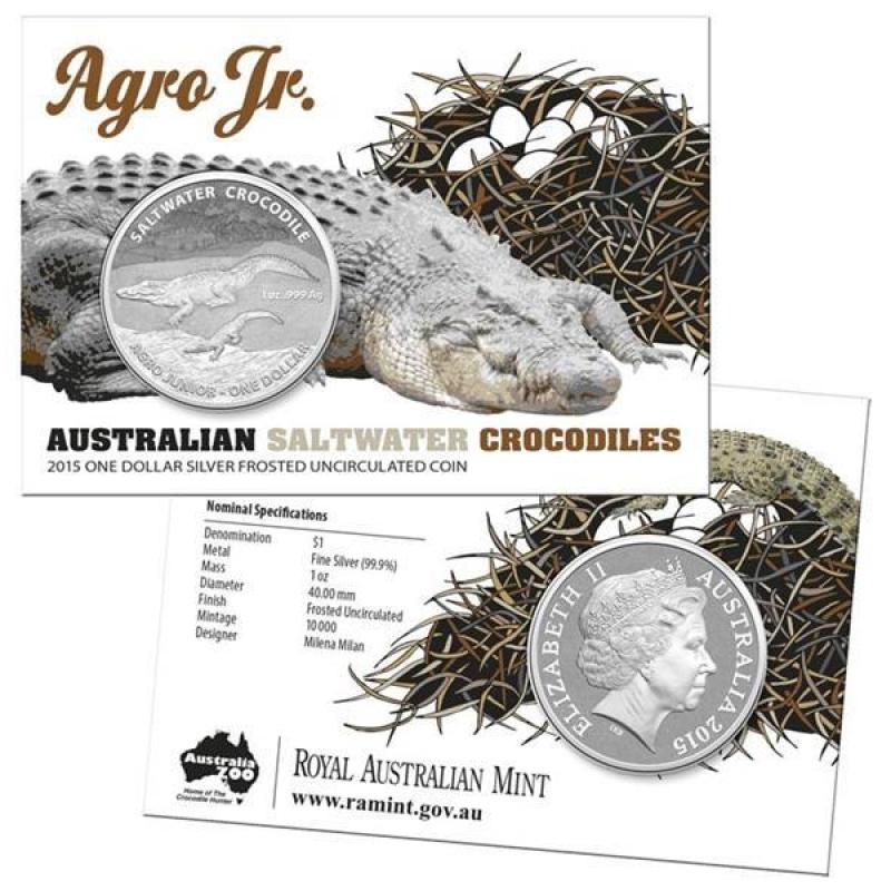 2015 1 Australian Saltwater Crocodiles Agro Jr 1oz Silver
