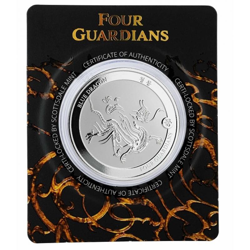 2018 Republic of Chad 1 oz Silver Four Guardians - Blue Dragon Hybrid BU