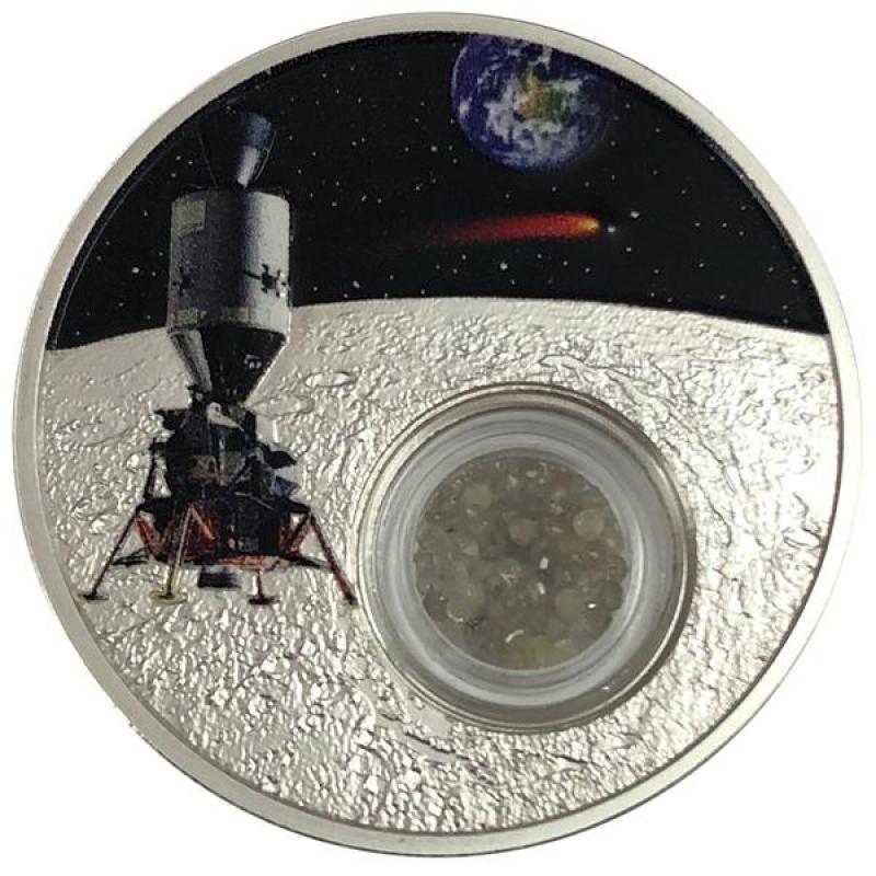 1 Unze Silber Usa 50 Jahre Mondlandung Kapselmünze Mit Diamanten 99999 1 Dollar Proof