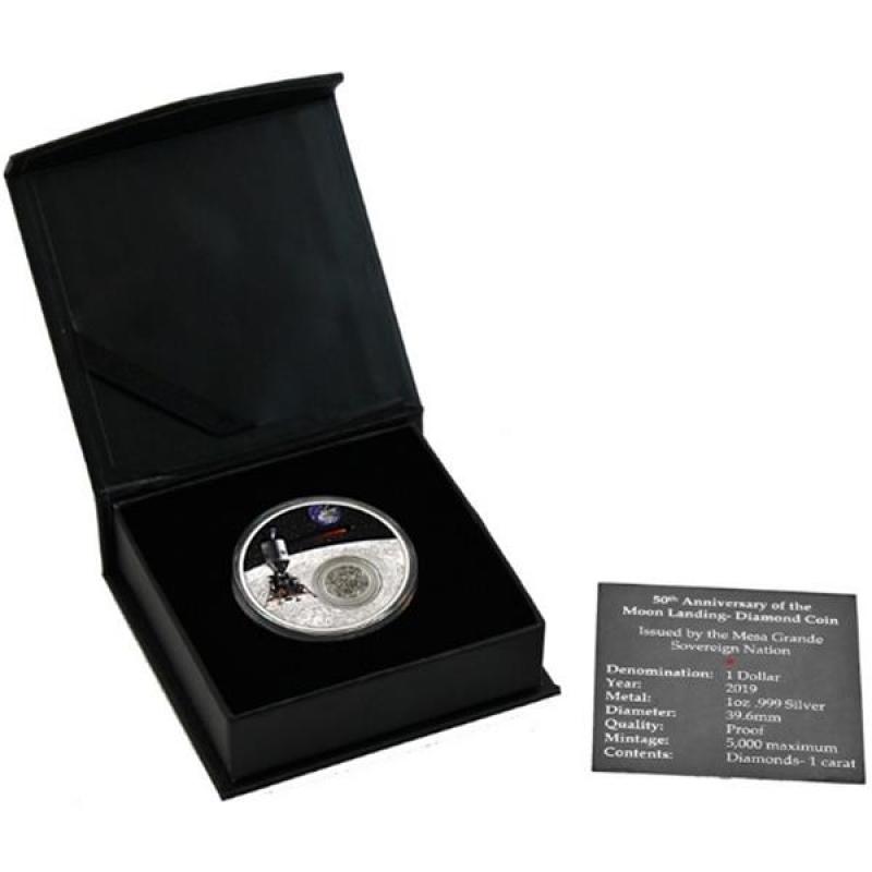 1 Unze Silber Usa 50 Jahre Mondlandung Kapselmünze Mit Diamanten