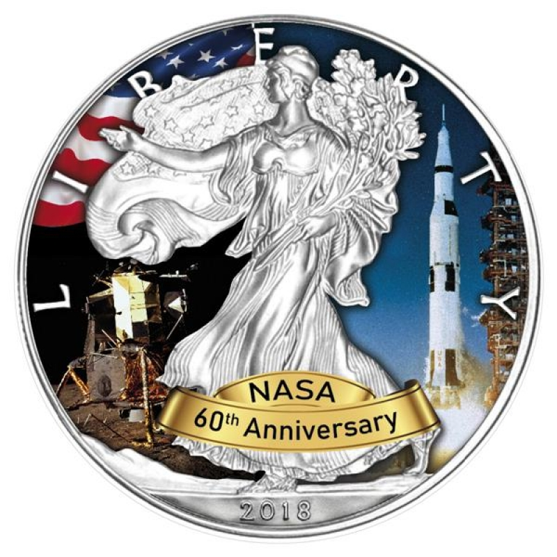 1 Oz Silver American Eagle Usa 2018 60 Years Nasa Apollo