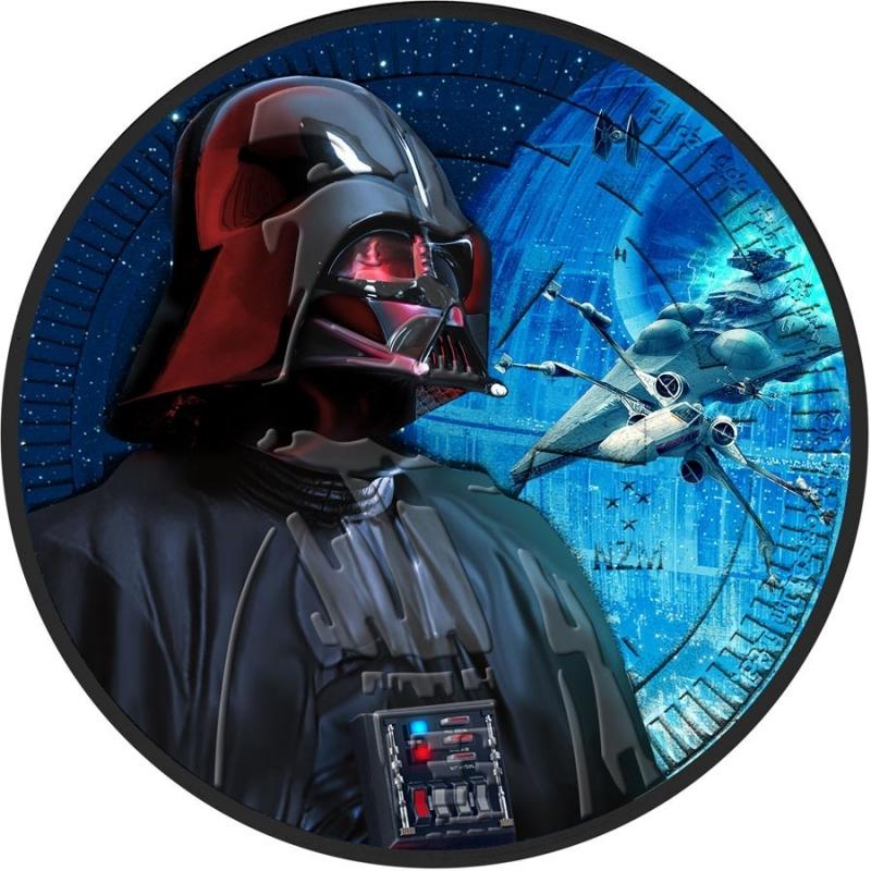 2017 Niue 1 Oz Silver 2 Black Rhutenium Star Wars Darth Vader Interceptor Coloured