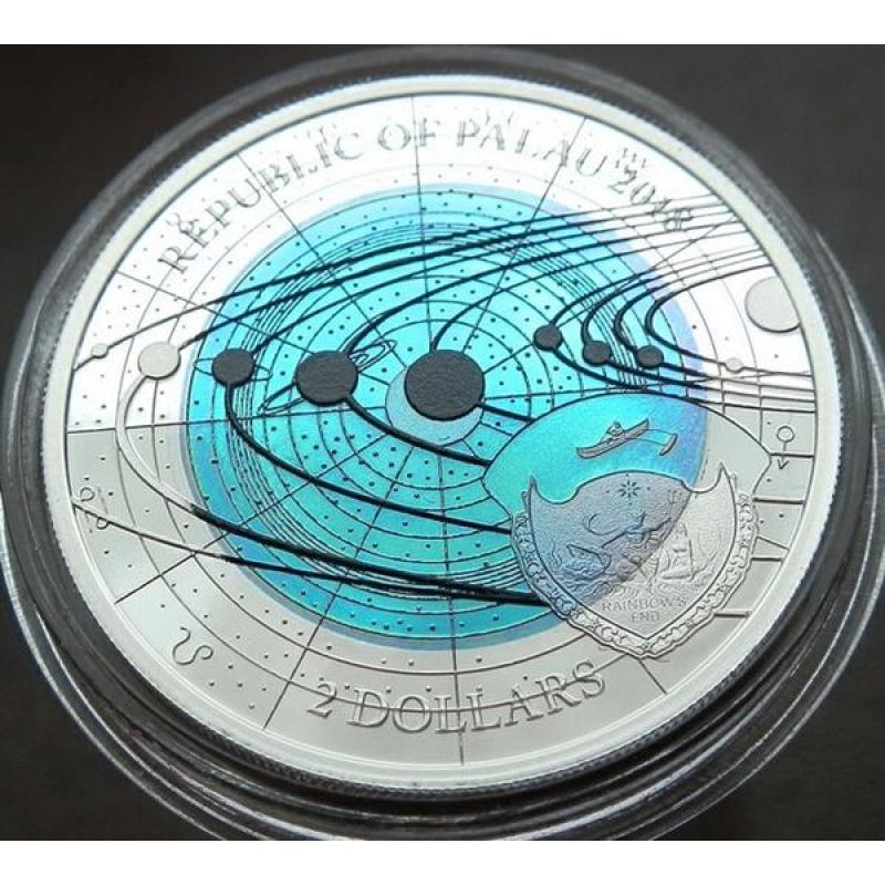 Palau 2 Dollar Niob Solarsystem Uranus Proof 2018 8890 Auri