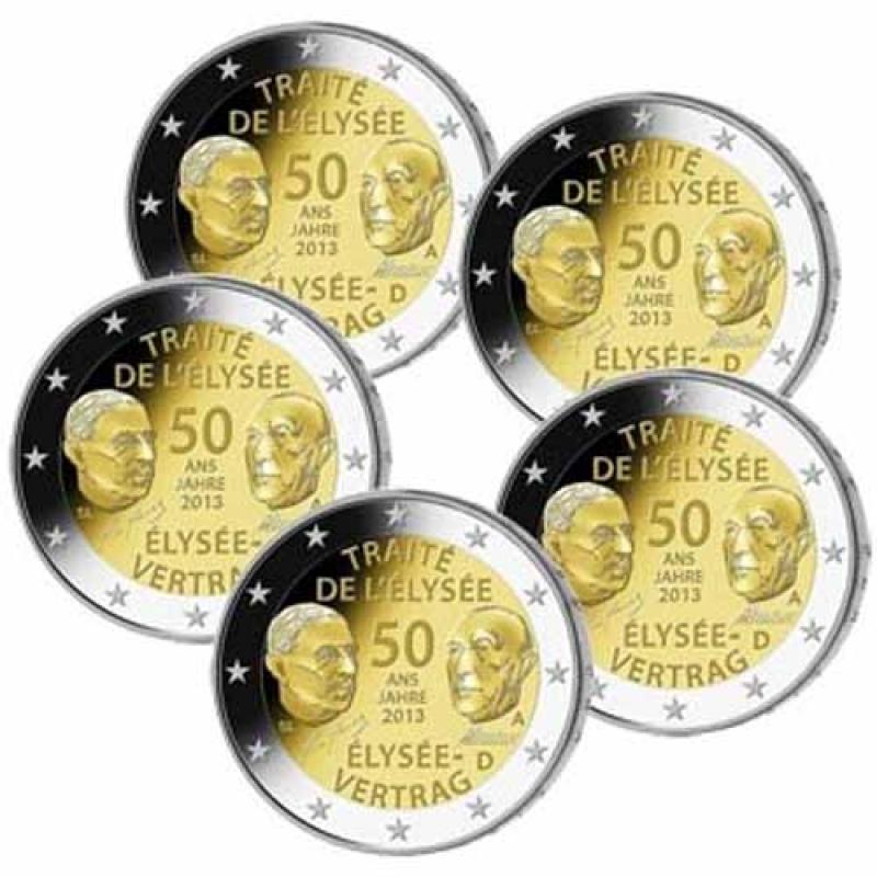 5 X 2 Euro Deutschland Set 2013 50 Jahre Elysee Vertrag A D F G J