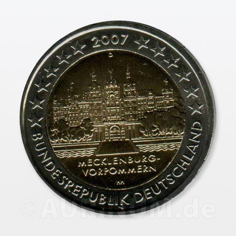 2 Euro Deutschland 2007 Mecklenburg Vorpommern D 655 Aurinu