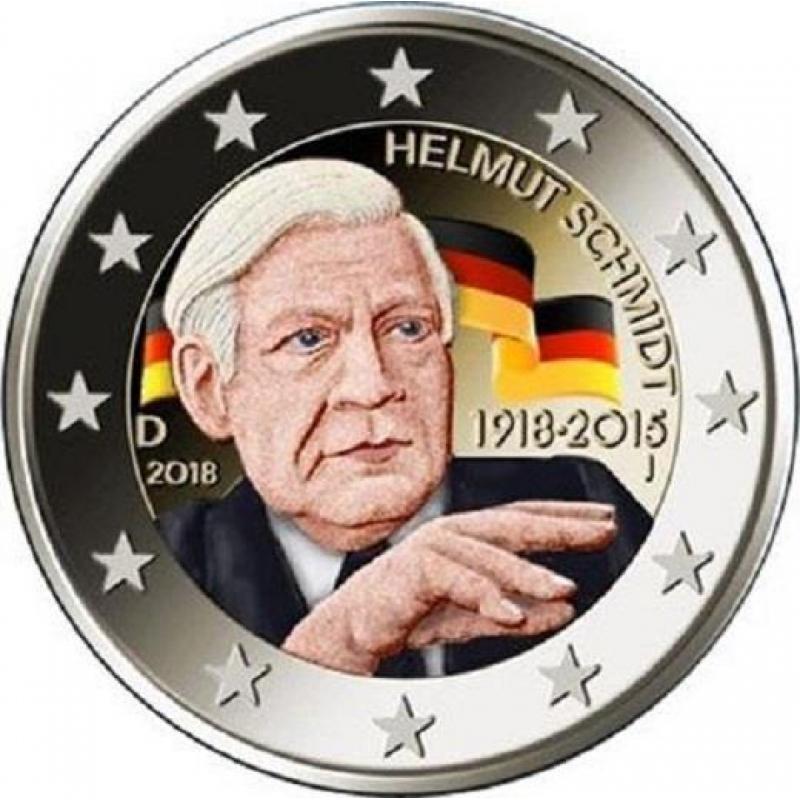 2 Euro Deutschland 2018 Helmut Schmidt In Farbe 595 Aurinu