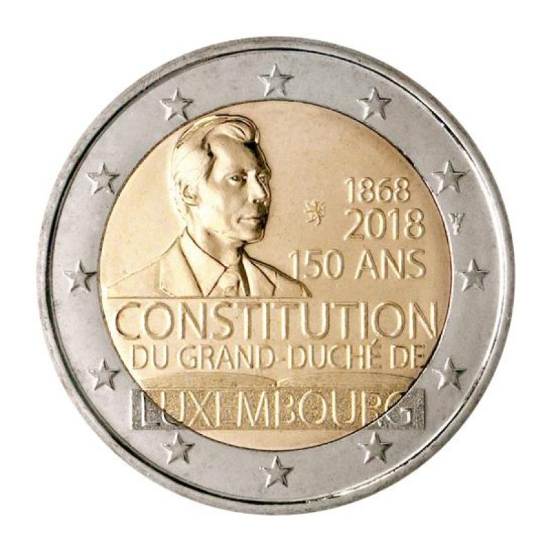 2 Euro Luxemburg 2018 150 Jahre Verfassung Münzzeichen Löw