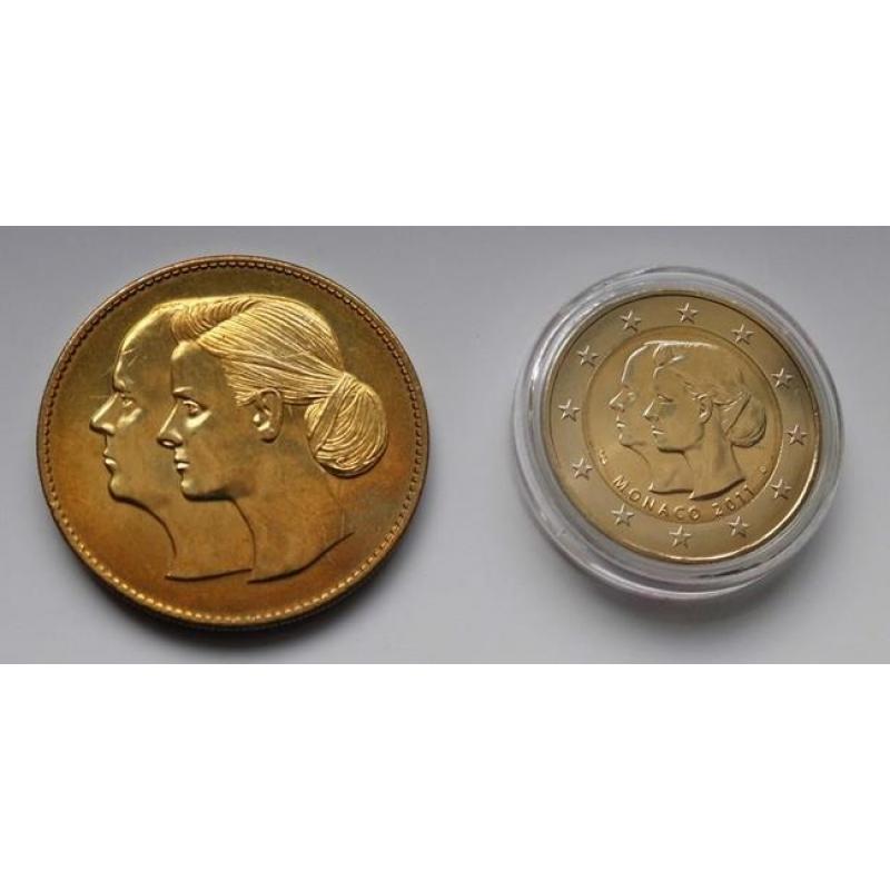 2 Euro Monaco 2011 Hochzeit Albert Und Charlene Mit Medaille 9800