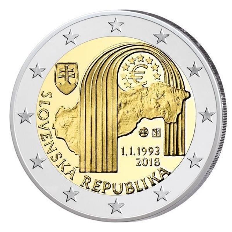 2 Euro Slowakei 2018 25 Jahre Slowakische Republik Unc 389