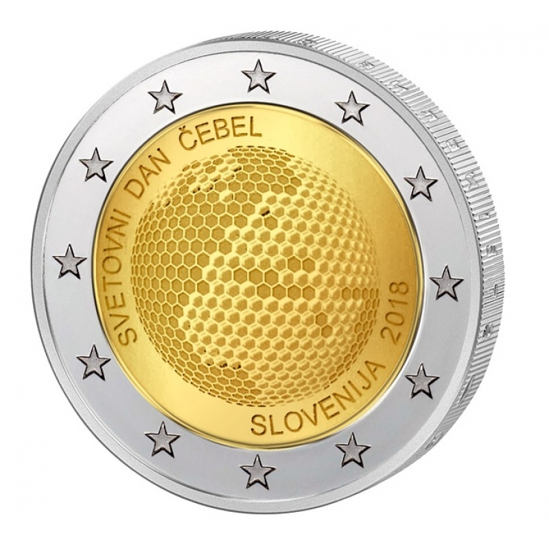 2 euro slovenia 2018 world bee day proof in capsule 26 90. Black Bedroom Furniture Sets. Home Design Ideas